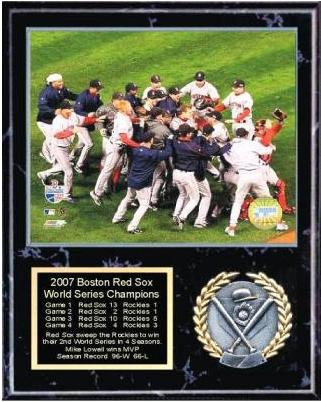 Boston 2007 Champs Plaque Celebration Black Marble 12x15 World Series Team