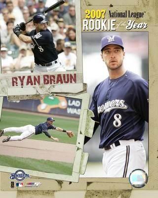 Ryan Braun 2007 ROY LIMITED STOCK Milwaukee Brewers 8x10 Photo
