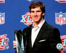 Eli Manning Super Bowl 42 MVP Trophy 8X10 Photo
