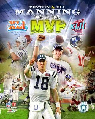 Eli Manning & Peyton Manning Back To Back MVP's 8X10 Photo