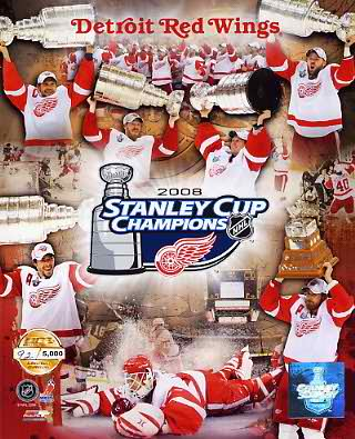 Detroit 2008 Stanley Cup Champs Limited Edition Red Wings 8X10 Photo