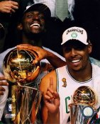 Paul Pierce / Kevin Garnett 2008 Champs W/ Trophies Celtics 8X10 Photo