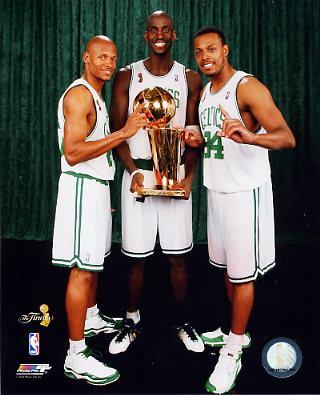 Paul Pierce / Ray Allen / Kevin Garnett 2008 Champs W/ Trophies Celtics 8X10 Photo LIMITED STOCK