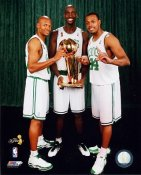 Paul Pierce / Ray Allen / Kevin Garnett 2008 Champs W/ Trophies Celtics 8X10 Photo LIMITED STOCK