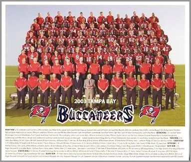 "Tampa Bay 2003 Super Bowl 37 Cardboard Stock w/ team history on back 8"" x 9-1/2"" Photo"