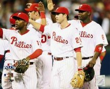 Jimmy Rollins, Chase Utley, Ryan Howard 2008 NLCS Game 1 Win LIMITED STOCK Phillies 8X10 Photo