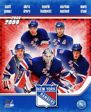 Rangers 2008 Team Scott Gomez, Chris Drury, Henrik Lundqvist, Marcus Naslund, Marc Staal 8x10 Photo