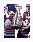 Mark Messier & Wayne Gretzky with Stanley Cup Oilers 8x10 Photo