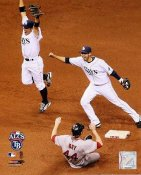Akinori Iwamura & Jason Bartlett ALDS Game 7 Last Out Rays LIMITED STOCK 8X10 Photo