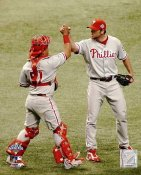 Brad Lidge & Carlos Ruiz Game 1 World Series 2008 LIMITED STOCK  Phillies 8X10 Photo