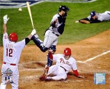 Eric Bruntlett Game 3 Slides Home Matt Stairs Celebrates World Series 2008 LIMITED STOCK Phillies 8X10 Photo