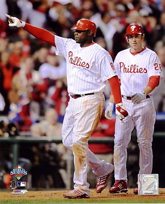 Ryan Howard & Chase Utley Game 4 World Series 2008 LIMITED STOCK Phillies 8X10 Photo