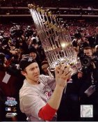 Chase Utley 2008 World Series Trophy Philadelphia Phillies 8X10 Photo