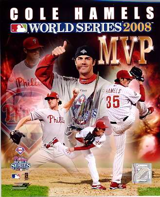 Cole Hamels MVP Composite World Series 2008 Phillies 8X10 Photo