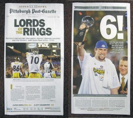 Steelers 2009 Super Bowl 43 Pittsburgh Post Gazette Newspaper
