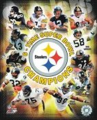 Steelers 6 Time Super Bowl Champs Composite Terry Bradshaw, Hines Ward, Franco Harris, Jerome Bettis Ben etc SATIN 8x10 Photo