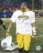 James Farrior Super Bowl 43 SUPER SALE Pittsburgh Steelers Slight Bend in Corner 8x10 Photo