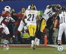 Santonio Holmes TD Mewelde Moore Super Bowl 43 LIMITED STOCK Pittsburgh Steelers 8x10 Photo