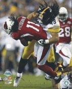 Troy Polamalu Super Bowl 43 Tackles Larry Fitzgerald Steelers SATIN 8x10 Photo