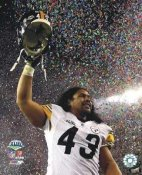 Troy Polamalu Super Bowl 43 Celebrates Win Steelers 8x10 Photo