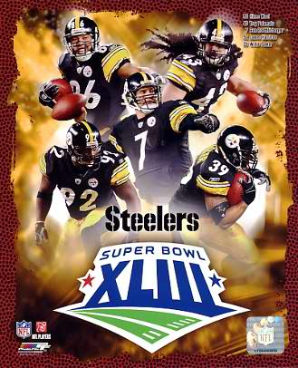 Steelers 2009 Super Bowl Black Uniform Composite Pittsburgh Team 8x10 Photo