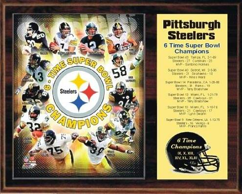 Steelers 2009 Six Time Super Bowl Champions 12x15 Walnut Style Plaque - Terry Bradshaw, Hines Ward, Jerome Bettis, Troy Polamalu, Franco Harris etc