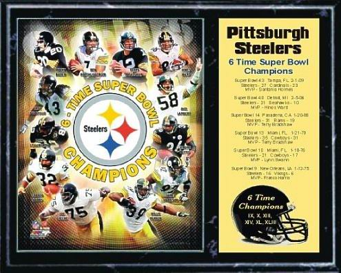 Steelers 2009 Six Time Super Bowl Champions 12x15 Black Marble Style Plaque - Terry Bradshaw, Hines Ward, Jerome Bettis, Troy Polamalu, Franco Harris etc