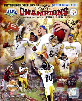 Steelers 2009 Limited Edition Super Bowl 43 8X10 Photo