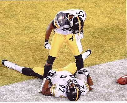 James Harrison & Ryan Clark End Zone Super Bowl 43 Steelers 8x10 Photo  LIMITED STOCK