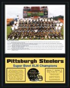 Steelers 2008-09 Team Super Bowl 43 Champions 12x15 MATTE BLACK Plaque