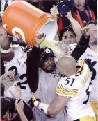 Mike Tomlin & James Farrior Super Bowl 43 LIMITED STOCK Pittsburgh Steelers 8x10 Photo