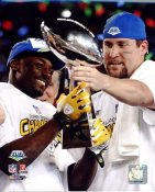 Santonio Holmes, Ben Roethlisberger Lombardi Trophy Super Bowl 43 LIMITED STOCK Pittsburgh Steelers 8x10 Photo