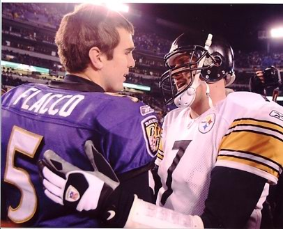 Joe Flacco and Ben Roethlisberger LIMITED STOCK Baltimore Ravens 8X10 Photo