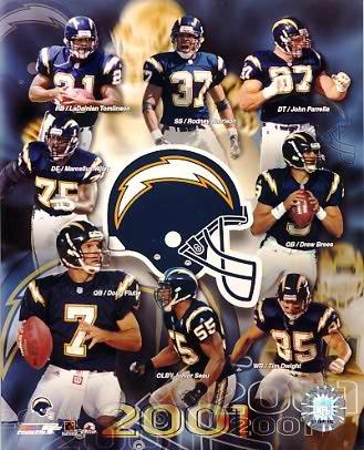 Chargers 2001 San Diego Doug Flutie & Team 8X10 Photo