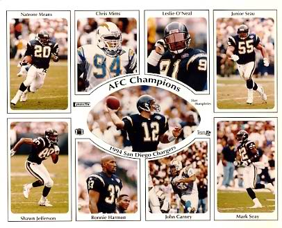 Chargers 1994 San Diego AFC Champs Team Stan Humphries, Leslie O' Neal, Chris Mims, Natrone Means, Shawn Jefferson, Ronnie Harmon, John Carney, Mark Seay 8X10 Photo