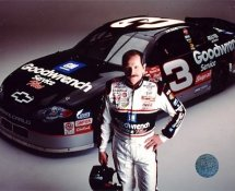 Dale Earnhardt with Car Horizontal 8X10 Photo