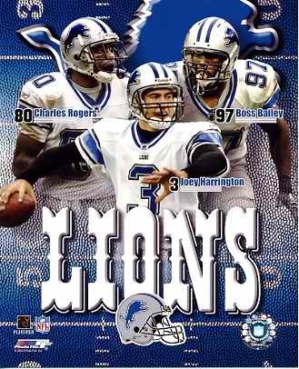 Boss Bailey, Joey Harrington, Charles Rogers Big 3 Detroit Lions 8X10 Photo