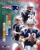 Corey Dillon, Tom Brady, Adam Vinatieri Big 3 New England Patriots 8X10 Photo