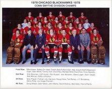 Chicago 1978 BlackHawks Conn Smythe Division Champs Original Team 8.5X11 Photo