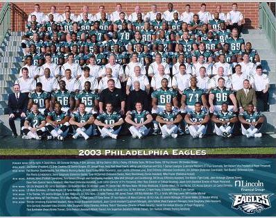 Eagles 2003 Philadelphia Full Team 8.5 x 11 Photo