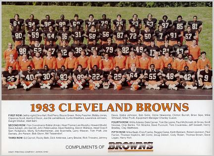 Browns 1983 Cleveland Team 9X12 Photo