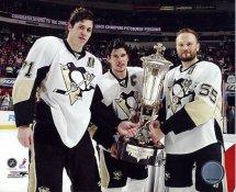 Sergei Gonchar, Sidney Crosby & Evgeni Malkin w/ 2009 Wales Trophy Pittsburgh Penguins 8x10 Photo