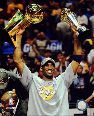 Kobe Bryant With MVP & Champs Trophy NBA Finals 2009 Los Angeles Lakers 8x10 Photo LIMITED STOCK