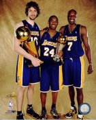Lamar Odom, Kobe Bryant & Pau Gasol With Champs Trophy NBA Finals 2009 Los Angeles Lakers 8x10 Photo LIMITED STOCK