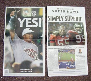 Tampa Bay 2003 Super Bowl 37 Buccaneers Newspaper
