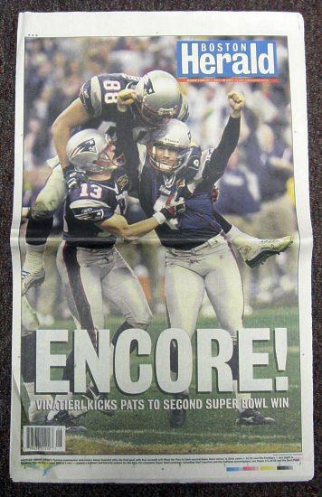 Patriots 2004 Boston Herald Super Bowl 38 Newspaper New England