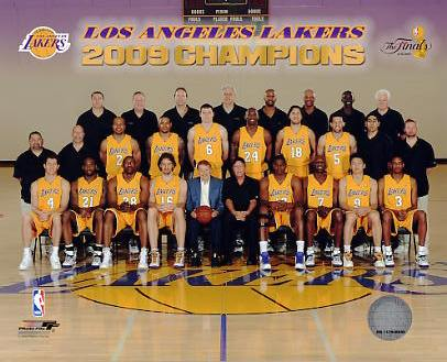 Lakers 2009 Team Sit Down NBA Champs 8x10 Photo LIMITED STOCK