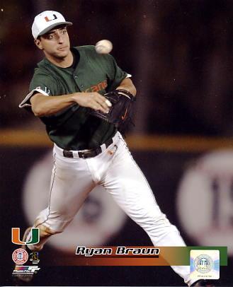 Ryan Braun University of Miami Hurricanes 8x10 Photo