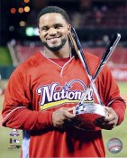 Prince Fielder with 2009 All Star Home Run Derby Trophy LIMITED STOCK Milwaukee Brewers 8x10 Photo