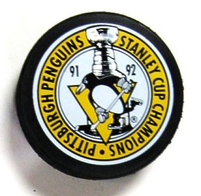 Penguins 1991-92 Puck Back to Back Stanley Cup Hockey Puck